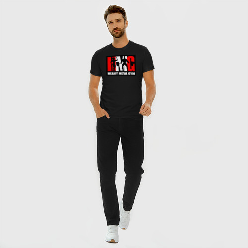 Мужская футболка хлопок Slim Бодибилдинг Heavy Metal Gym Фото 01