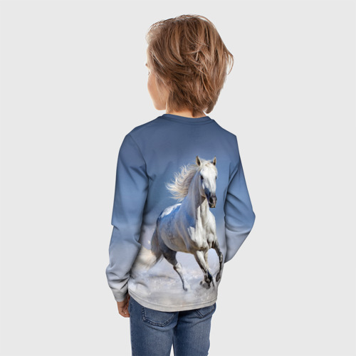 Детский лонгслив 3D Белая лошадь Фото 01