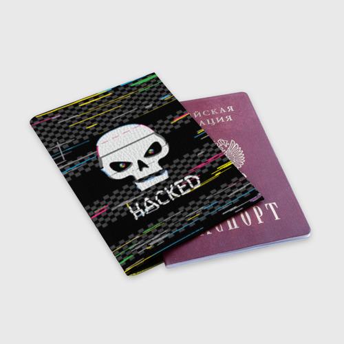 Обложка для паспорта матовая кожа Hacked Фото 01