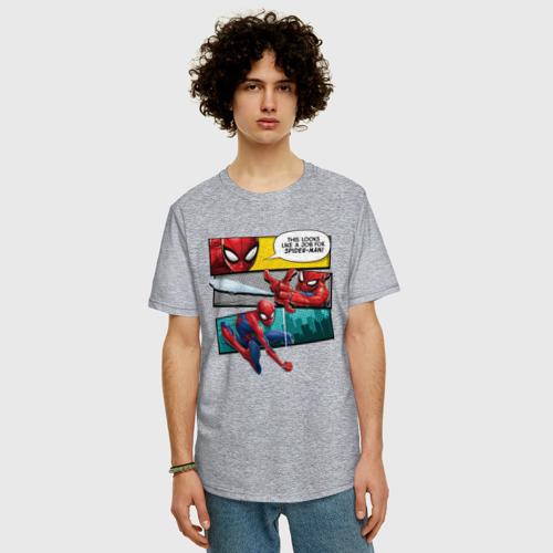 Мужская футболка хлопок Oversize Комикс Человек-паук Фото 01