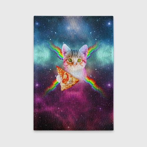 Обложка для автодокументов Кот с радугой и пиццей Фото 01