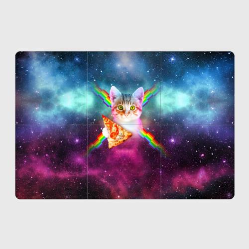 Магнитный плакат 3Х2 Кот с радугой и пиццей Фото 01