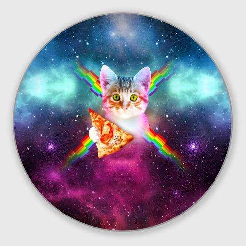 Коврик для мышки круглый Кот с радугой и пиццей Фото 01