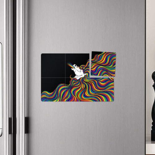 Магнитный плакат 3Х2 Белый конь с радужной гривой Фото 01