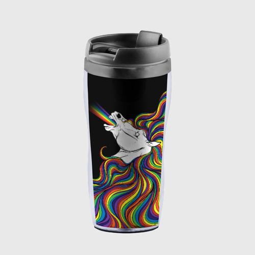Термокружка-непроливайка Белый конь с радужной гривой