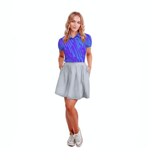 Женская рубашка поло 3D Неоновые Линии Фото 01