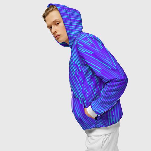 Мужская толстовка 3D на молнии Неоновые Линии Фото 01