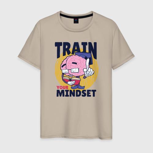 Мужская футболка хлопок Тренируй свой Мозг Фото 01