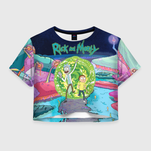 Женская футболка Crop-top 3D Путешествия Рик и Морти Фото 01