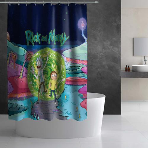 Штора 3D для ванной Путешествия Рик и Морти Фото 01