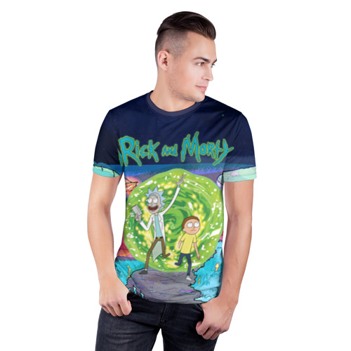 Мужская футболка 3D спортивная Путешествия Рик и Морти Фото 01