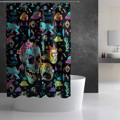 Штора 3D для ванной Monsters Rick and Morty Фото 01
