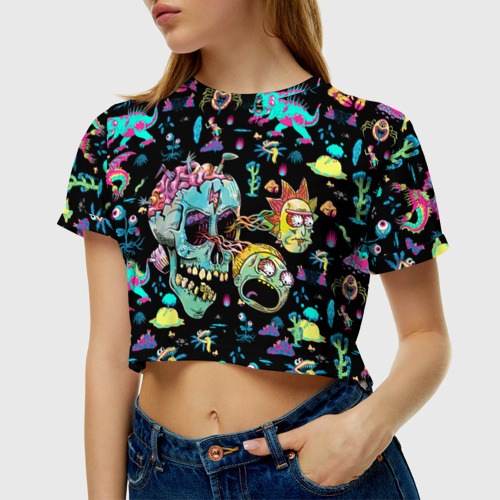 Женская футболка Crop-top 3D Monsters Rick and Morty Фото 01