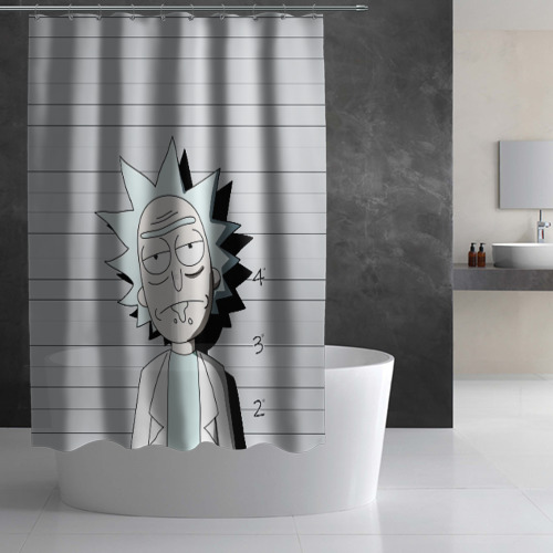 Штора 3D для ванной Rick is in prison Фото 01