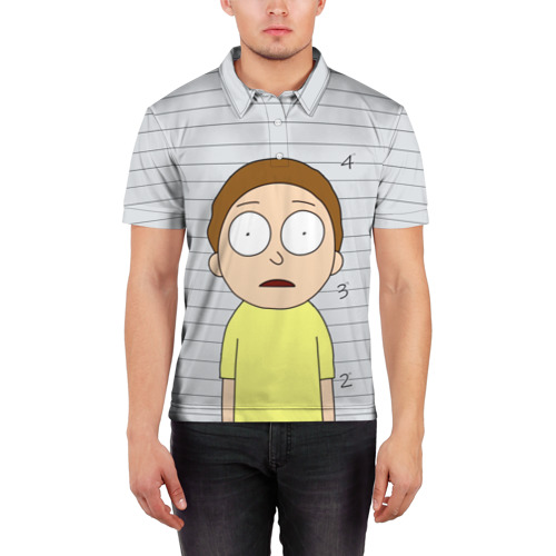 Мужская рубашка поло 3D Morty is in prison Фото 01