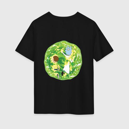 Женская футболка хлопок Oversize  Rick and Morty in the portal Фото 01