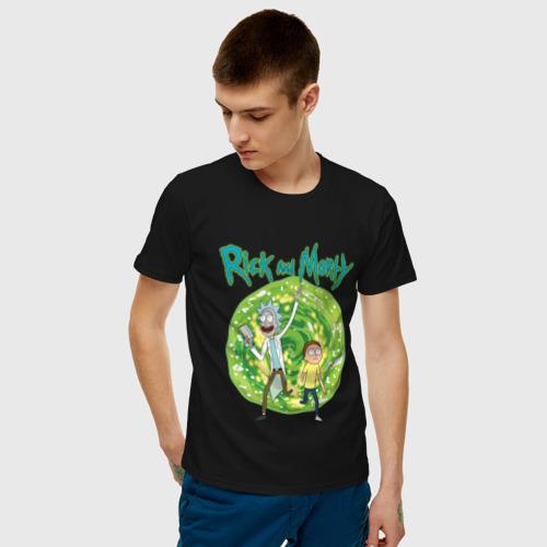 Мужская футболка хлопок  Rick and Morty in the portal Фото 01
