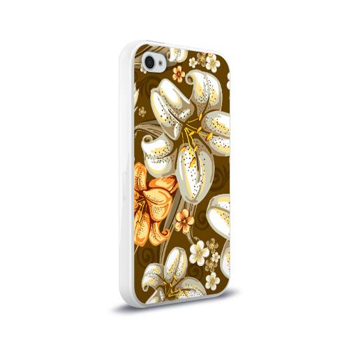 Чехол для Apple iPhone 4/4S силиконовый глянцевый Цветы Фото 01