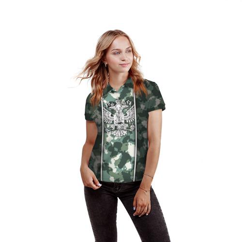 Женская рубашка поло 3D Герб РФ Фото 01