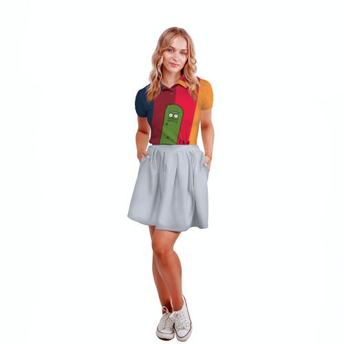 Женская рубашка поло 3D Pickle Rick Фото 01