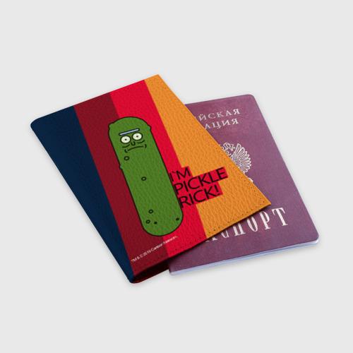 Обложка для паспорта матовая кожа Pickle Rick Фото 01