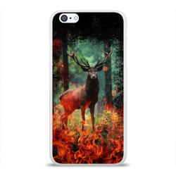 Олень в горящем лесу Сибири