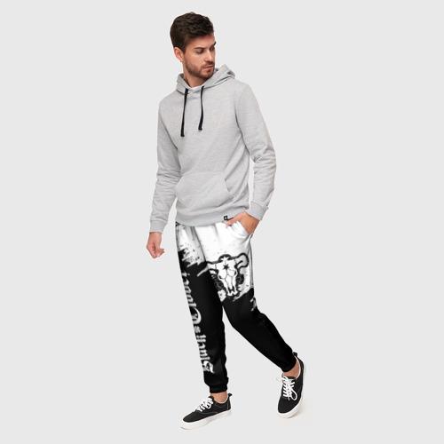 Мужские брюки 3D Чёрный Бык разделенный фон Фото 01