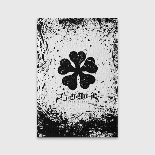 Обложка для паспорта матовая кожа Черный Клевер испачканный фон Фото 01