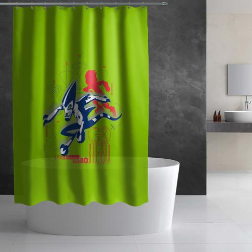 Штора 3D для ванной Молния Фото 01
