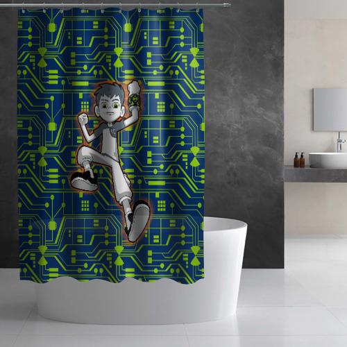 Штора 3D для ванной Ben10 Схема Фото 01