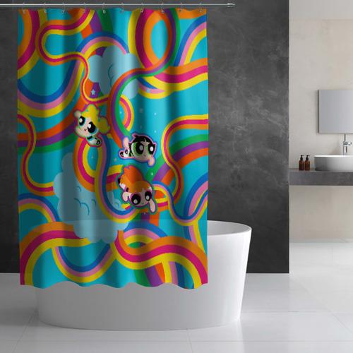 Штора 3D для ванной Rainbow. Powerpuff girls Фото 01