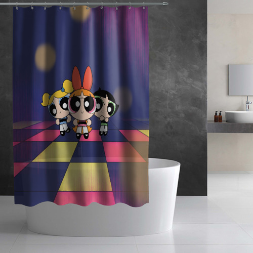 Штора 3D для ванной Powerpuff girls Фото 01