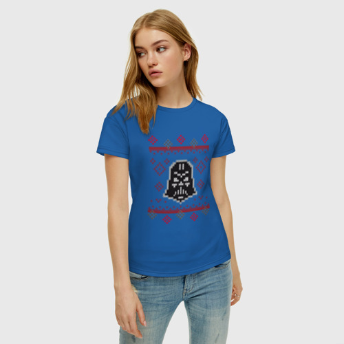 Женская футболка хлопок Darth Vader Christmas Sweater Фото 01