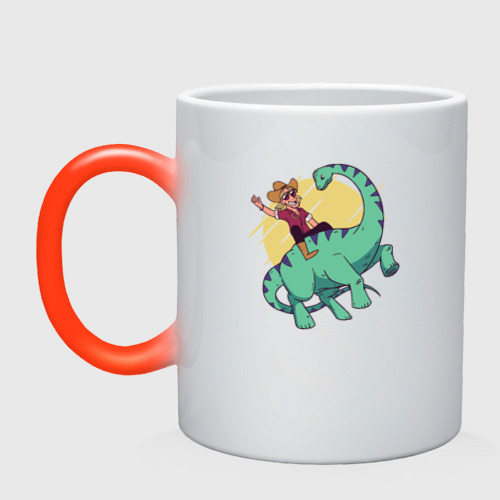Кружка хамелеон Ковбой на Динозавре