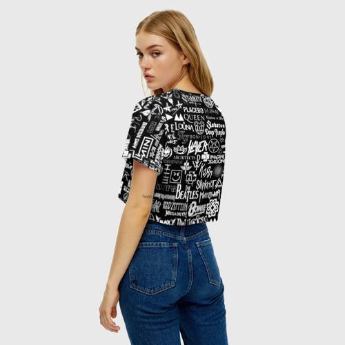 Женская футболка Crop-top 3D ЛОГОТИПЫ РОК ГРУПП Фото 01