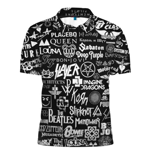Мужская рубашка поло 3D ЛОГОТИПЫ РОК ГРУПП Фото 01