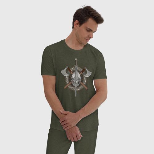 Мужская пижама хлопок Щит Викинга Фото 01