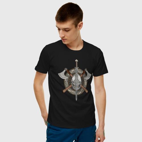 Мужская футболка хлопок Щит Викинга Фото 01