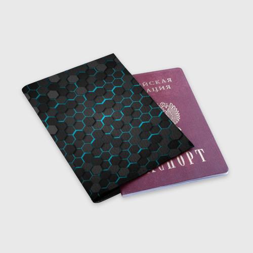 Обложка для паспорта матовая кожа Turquoise Octagon  Фото 01