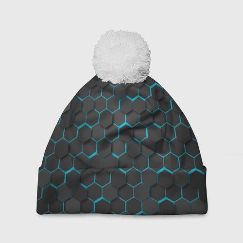 Шапка 3D c помпоном Turquoise Octagon  Фото 01