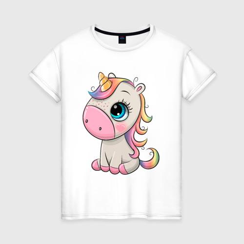 Женская футболка хлопок Милый единорог Фото 01