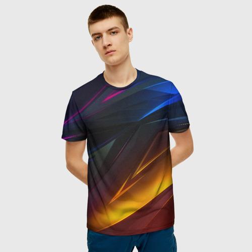 Мужская футболка 3D GEOMETRY STRIPES NEON | ГЕОМЕТРИЯ НЕОН Фото 01