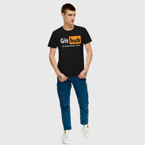 Мужская футболка хлопок GitHub Fork Place Фото 01