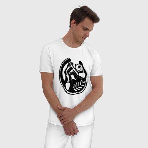 Черный кот скелет (мужская пижама хлопок) фото 2