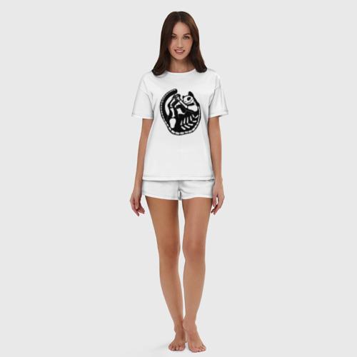Черный кот скелет (женская пижама с шортиками хлопок) фото 4