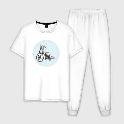 Мужская пижама хлопок Крыса с иероглифом XXXL фото