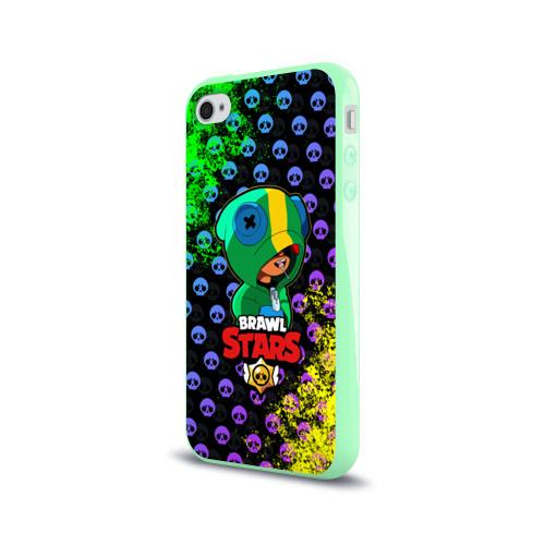 Чехол для Apple iPhone 4/4S силиконовый глянцевый Brawl Stars LEON Фото 01