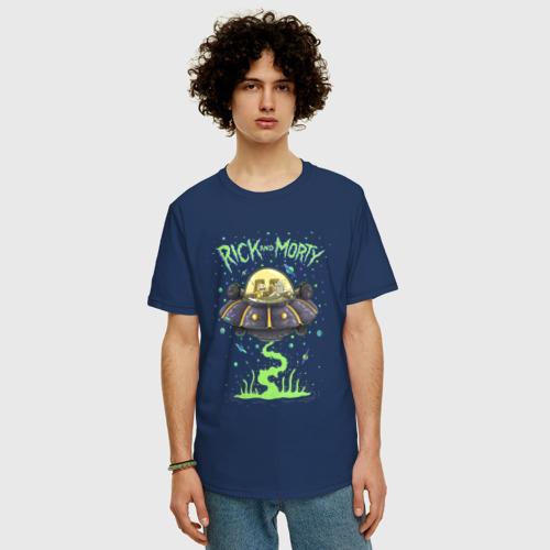 Мужская футболка хлопок Oversize Rick and Morty on a spaceship Фото 01