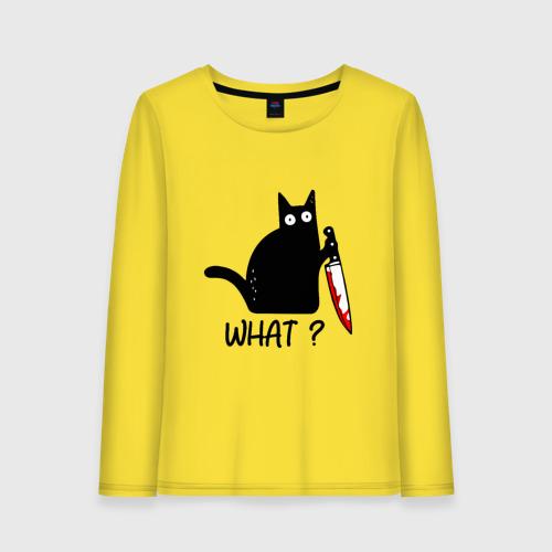 Женский лонгслив хлопок What cat Фото 01