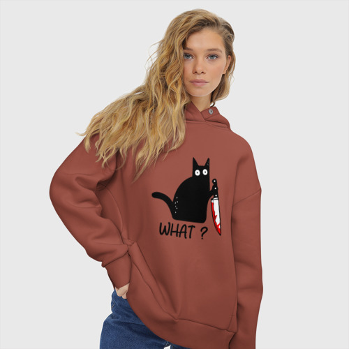 Женское худи Oversize хлопок What cat Фото 01